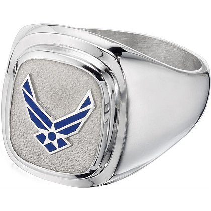 Air Force Classic Silver Ring, Signet Style w/ Service Branch Insignia