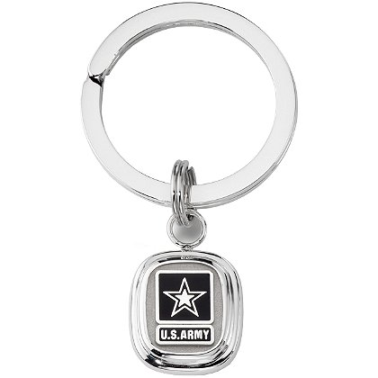 Son Sales Army Classic Key Ring High Tension Sterling Silver Split Key Ring with Polymer Service Branch Insignia