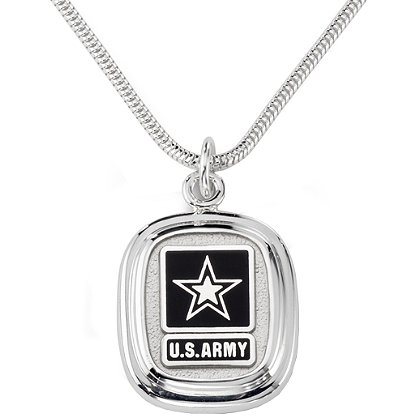 Army Silver Pendant w/ Branch Insignia & Lobster Claw Closure