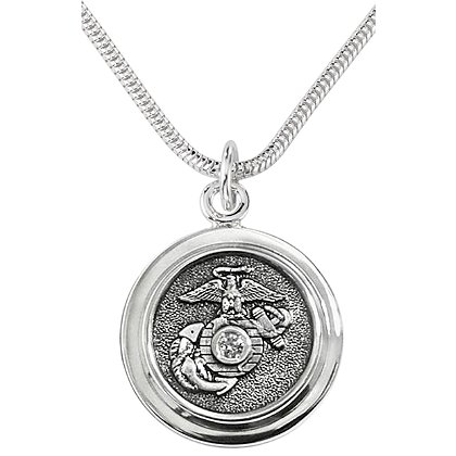 Son Sales Marine Corps Classic Pendant Sterling Silver with Round Brilliant Diamond & Polymer Service Branch Insignia with 18