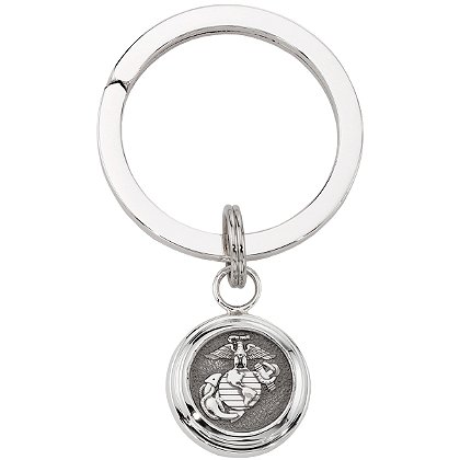Son Sales Marine Corps Classic Key Ring High Tension Sterling Silver Split Key Ring with Polymer Service Branch Insignia