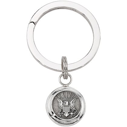 Navy Silver Key Ring w/ High Tension & Service Branch Insignia