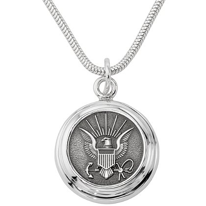 Son Sales Navy Classic Pendant Sterling Silver with Polymer Branch Insignia with 18
