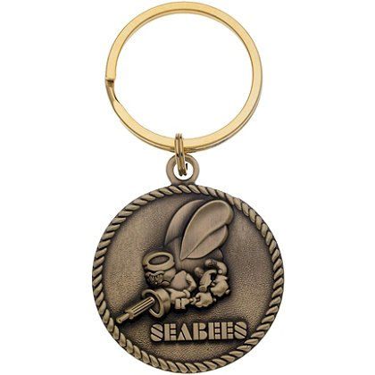 Navy Seabees Bronze Key Ring with Antique Finish