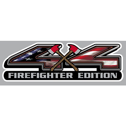 Decal 4 X 4 Truck Firefighter Edition with Crossed Axes & Waving American Flag, 4