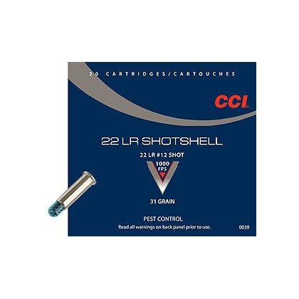 CCI .22 LR Shotshells, 31 grain, Box of 20