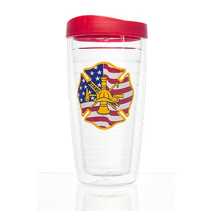 Exclusive Patriotic Firefighter Thermal Travel Mug with Travel Lid
