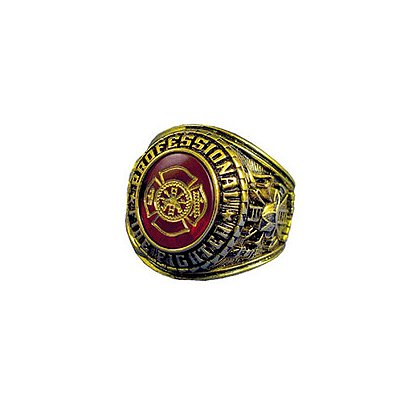 Exclusive Men's Professional Fire Service Ring, 18K Gold Electroplated