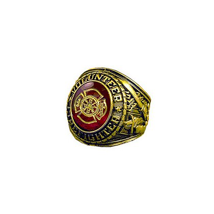 TheFireStore Men's Volunteer Fire Service Ring, 18K Gold Electroplated