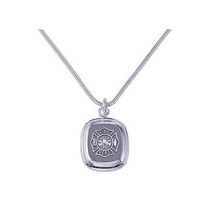 TheFireStore Fire Department Pendant & Chain, Sterling Silver