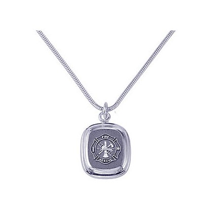 Exclusive Fire Rescue Pendent & Chain, Sterling Silver