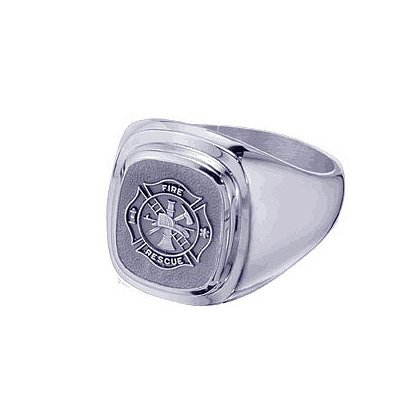TheFireStore Men's Fire-Rescue Ring, Sterling Silver