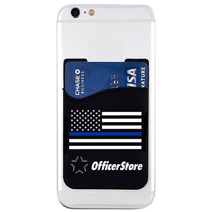 Exclusive OfficerStore Branded Thin Blue Line Flag Phone Card Holder