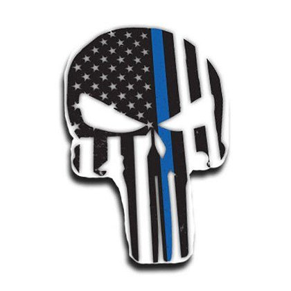 Thin Blue Line Dual Line American Flag Skull Decal