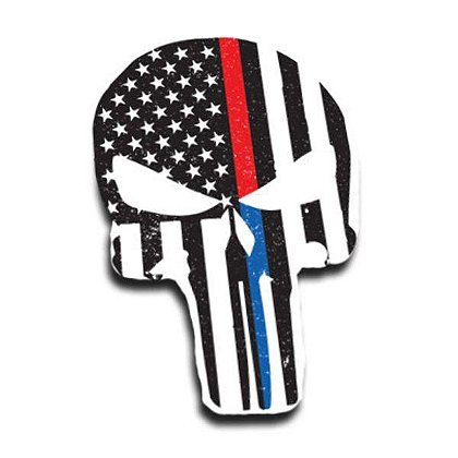 Thin Blue Line Dual Red-Blue Line American Flag Skull Decal