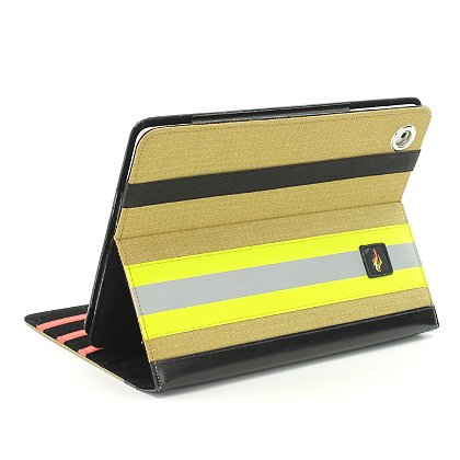 TheFireStore  iPad Case, Tan PBI Turnout Gear, Yellow Triple Trim