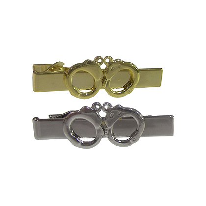 Tie Bar with Handcuffs, Gold or Silver