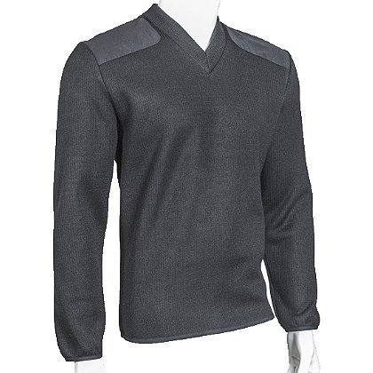 Cobmex V-Neck Fleece Lined Commando Sweater, Poly/Wool/Acrylic with VELCRO® brand Epaulettes