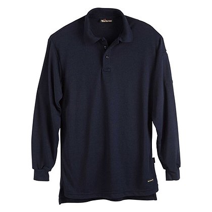 Workrite 6.7 oz. Tecasafe Long Sleeve Polo, Navy, Large