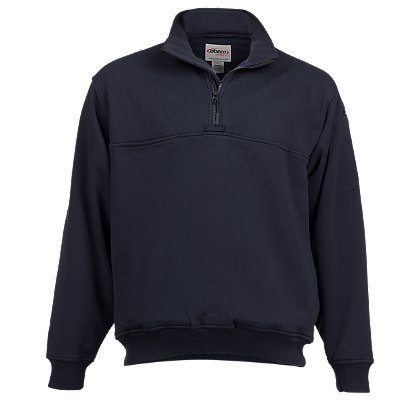 Elbeco: Fleece Quarter Zip Pullover with Self Collar, Navy