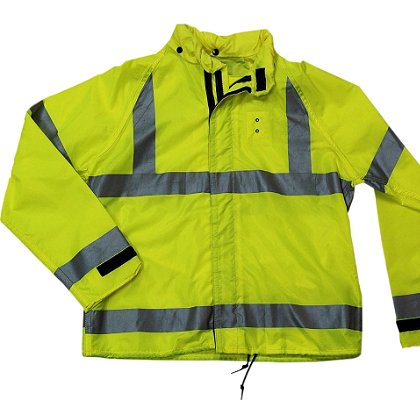 Neese Motorcycle Jacket Deluxe, Hi-Vis Lime with Silver 3M Reflective Trim