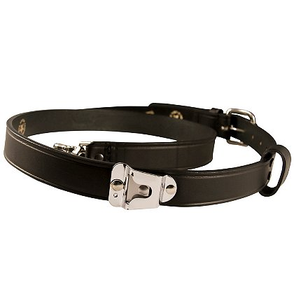 Boston Leather New York Style Leather Radio Strap, Plain Black