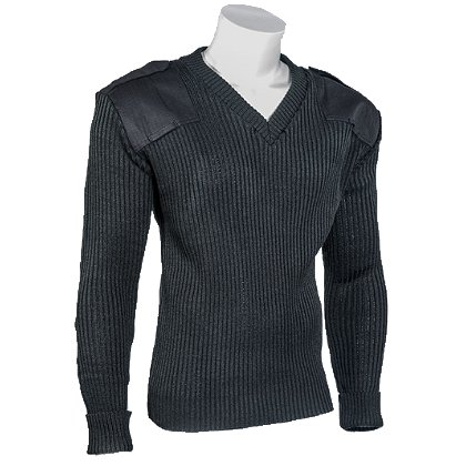 Cobmex V-Neck Rib Commando Sweater, 100% Acrylic with VELCRO® brand Epaulettes