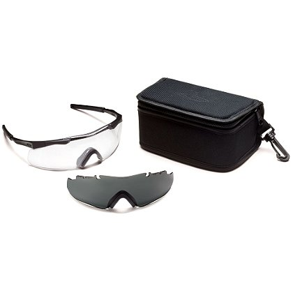 Smith Optics Aegis ARC Compact Eyeshield Field Kit, Black Frame/Clear Lens, Gray Spare Lens