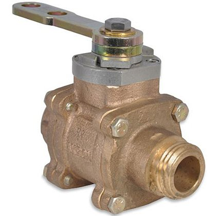 """Akron 1.5"""" In-Line Valve Brass with R-1 Handle and P1-S Rigid 1.5"""" NPT Female Adapters"""