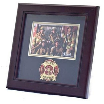 "Firefighter Black Picture Frame 10"" x 10"""