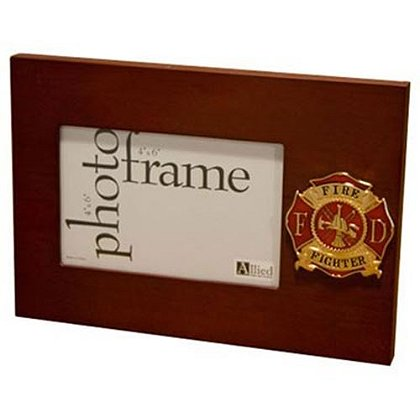 Fire Fighter Picture Frame with Maltese Cross Medallion