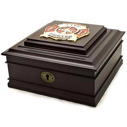 Firefighter Cherry Wood Desktop Box