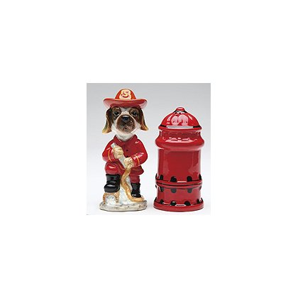 Fire Dog and Hydrant Salt and Pepper Shakers