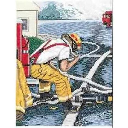 Cool Down Firefighter Cross Stitch Kit