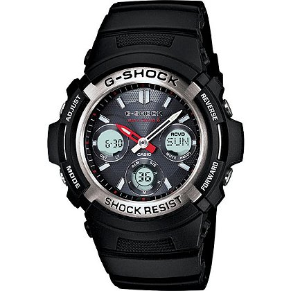 Casio G-Shock Analog Solar/Atomic Watch, Black Face and Band