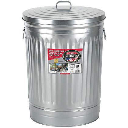 Behrens Galvanized Steel Utility/Trash Can with Lid