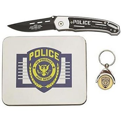 Police Lock Knife, Mouse Pad, and Key Chain Set