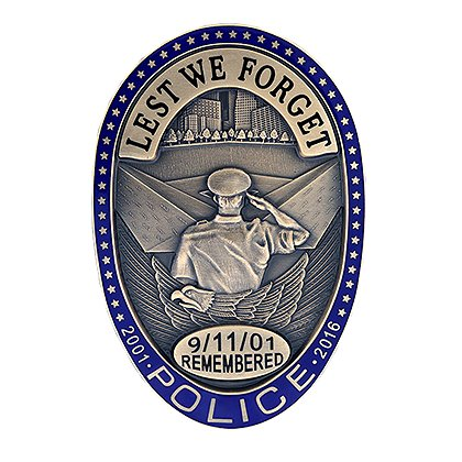 Blackinton 911 Oval Police Badge, Bronze