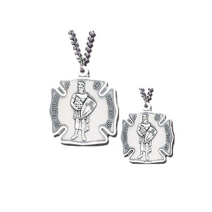 Blackinton St. Florian Medal, Sterling Silver with Chain
