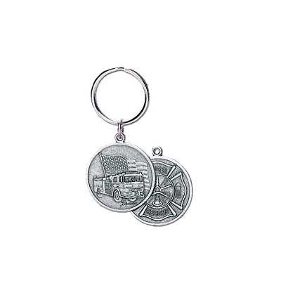 Blackinton 2-Sided Fire-Rescue Keychain, Pewter
