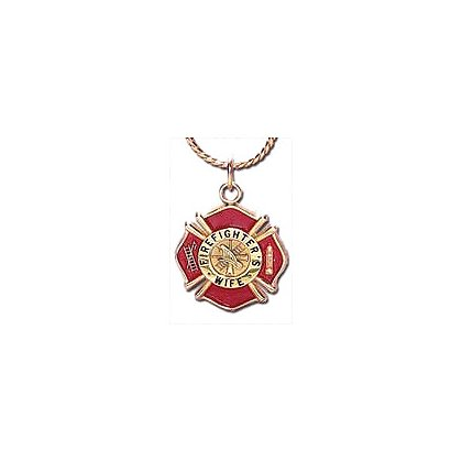 Fireman's Wife Charm, Enameled Gold-Plated Brass w/ Chain