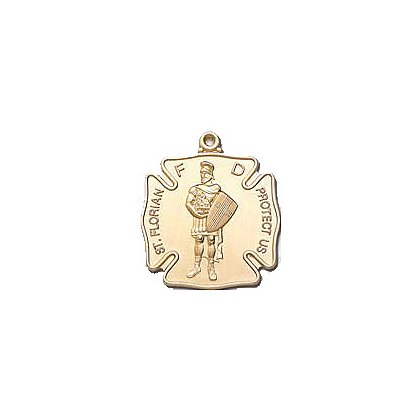 Blackinton St. Florian Medal, 24k Gold Vermeil (Gold Plate over Sterling)