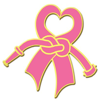 Breast Cancer Awareness Heart Ribbon Lapel Pin w/ Knotted Fire Hose