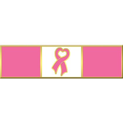 Breast Cancer Awareness Commendation Bar w/ Heart Ribbon