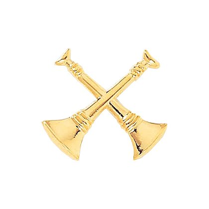 2-Crossed Bugles, Clutch-Back in Gold-Tone or Nickel-Plate - Pair