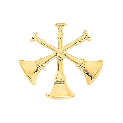 Fire Insignia 3-Crossed Bugles, Clutch-Back, Gold-Tone or Nickel-Plate