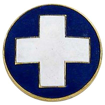 Smith & Warren White Cross Round Collar Insignia, Blue Enamel