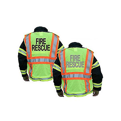 Lakeland Hi-Vis Public Safety Vest, 5-Point Breakaway Mesh Polyester