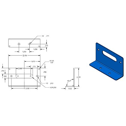 Code 3 90° L Shaped Bracket for the XT3 / T-Rex® or the MR6 / XT6