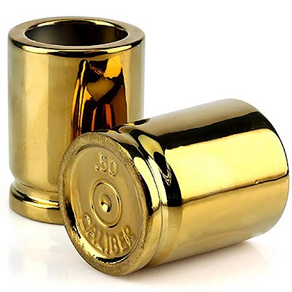 Caliber Gourmet Set of Two Gold 50 Caliber Shot Glasses